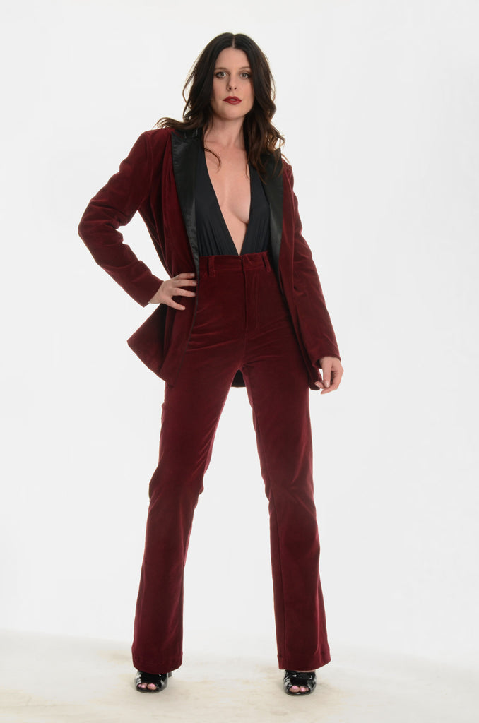 The Jimmy Page Tuxedo Pants - Burgundy - Ava Mann