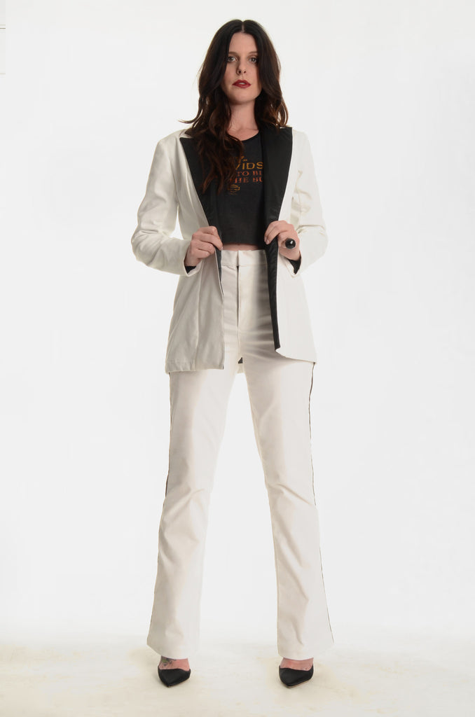 The Jimmy Page Tuxedo Jacket - White - Ava Mann