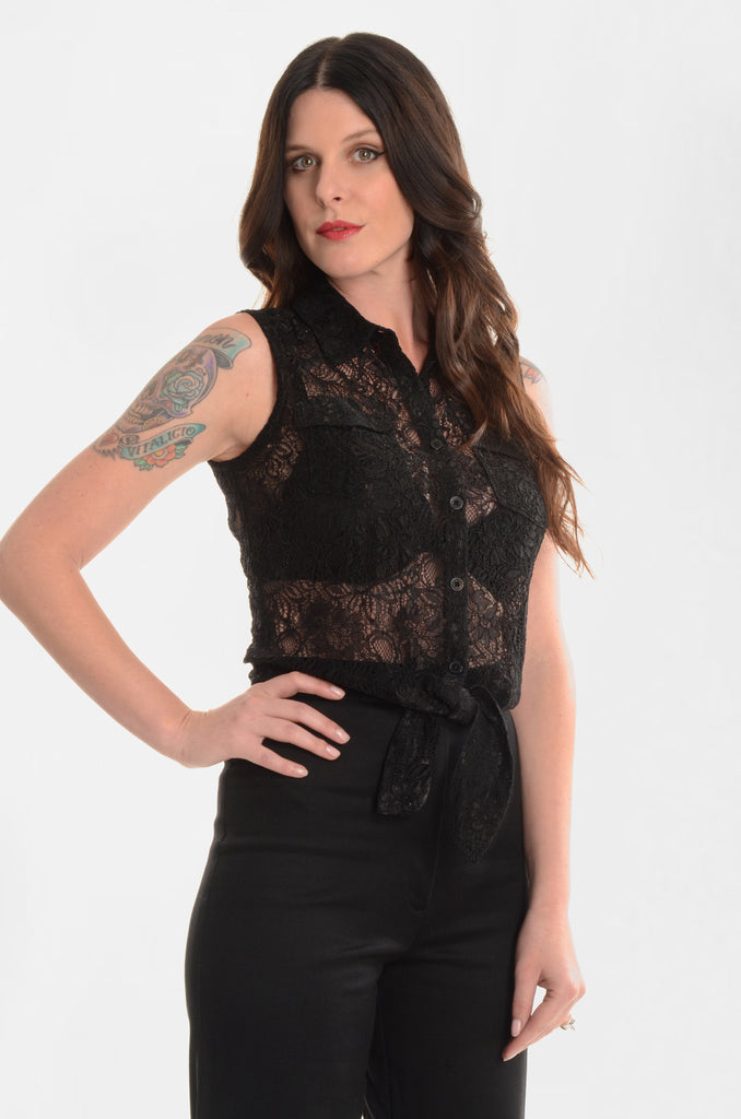 Hot In The City Black Lace Western Tie-Top - Ava Mann