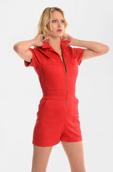 Manic Mechanic Short Jumper - Red - Ava Mann