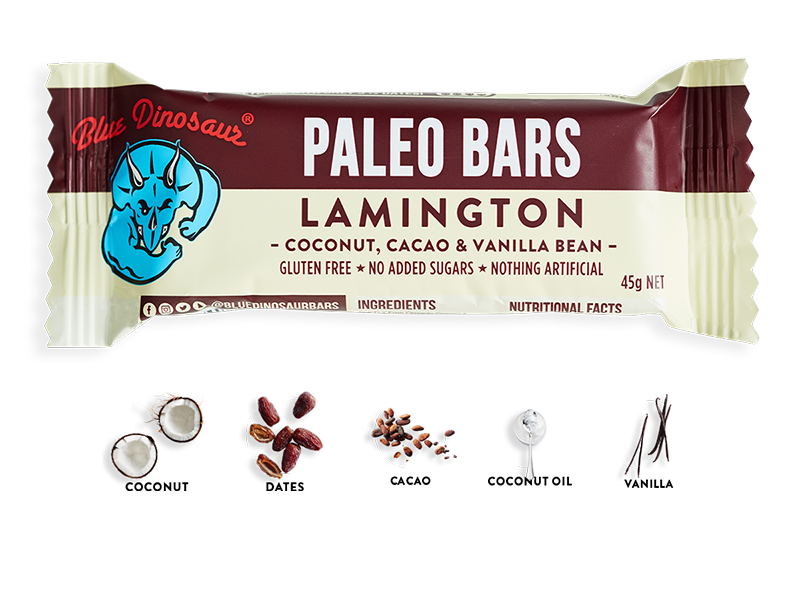 Blue Dinosaur Paleo Bar Lamington 45g