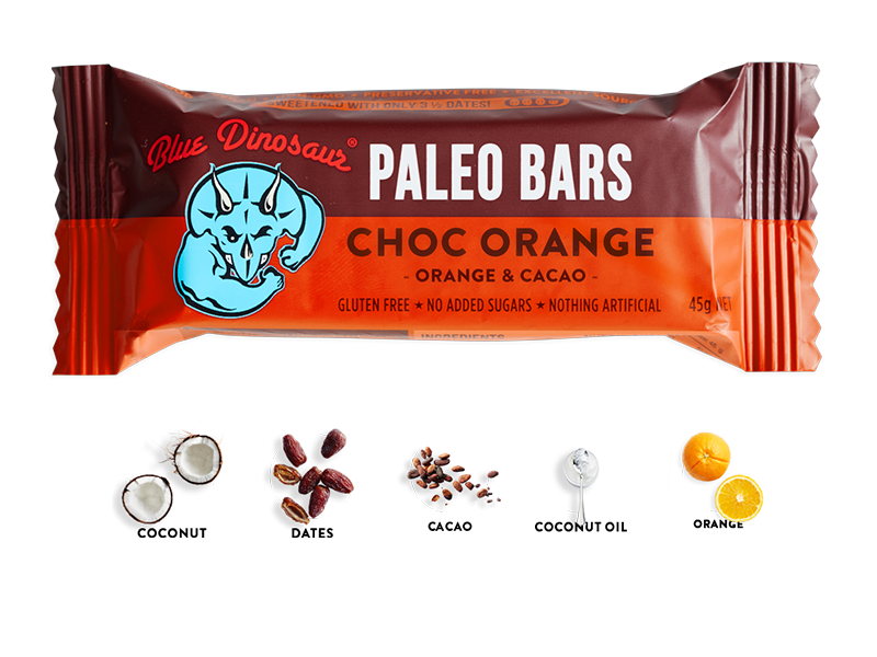Blue Dinosaur Paleo Bar Choc Orange 45g