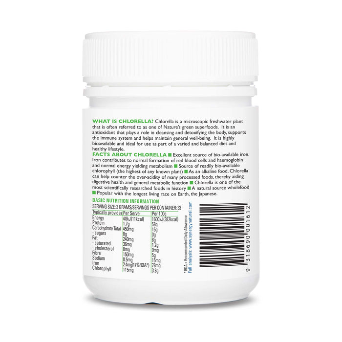 Synergy Natural Organic Chlorella 100g Powder