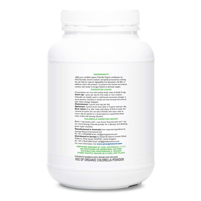 Synergy Natural Organic Chlorella 1kg Powder