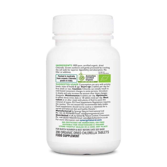 Synergy Natural Organic Chlorella 200 Tablets