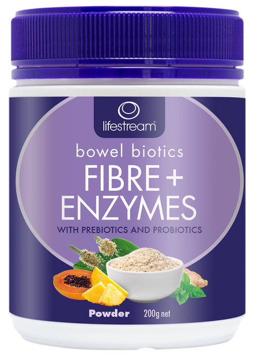 Lifestream Bowel Biotics Fibre +Digestive Enzymes 200g Powder (BEST BEFORE AUGUST 2020)