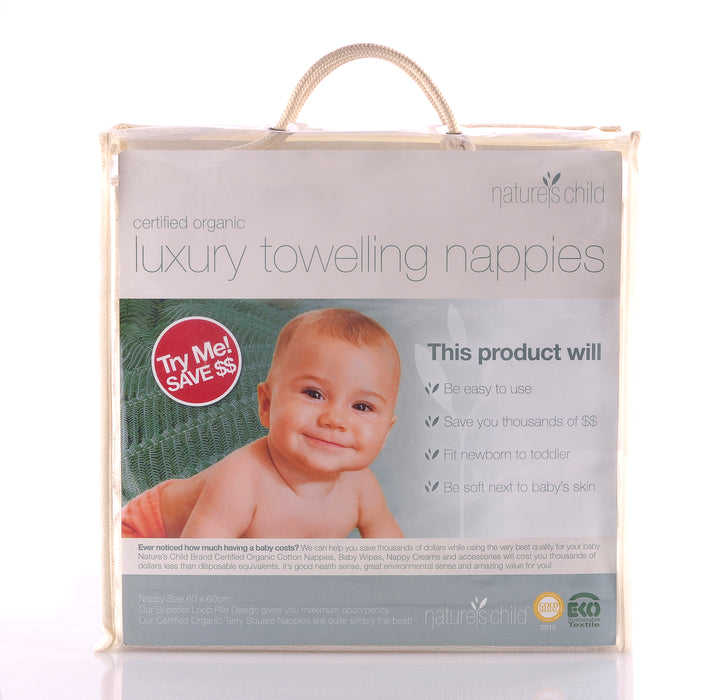 Nature's Child Luxury Towelling Nappies Pkt 6