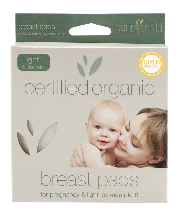 Nature's Child Organic Cotton Reusable Breast Pads Light & Discreet Pkt 6