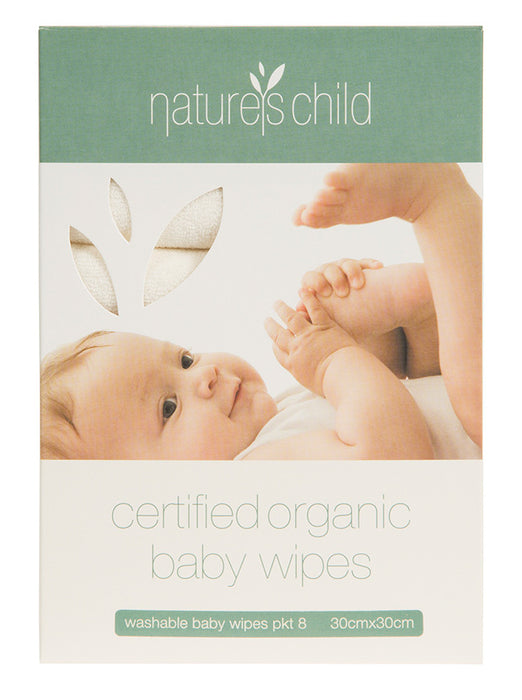 Natures Child Reusable Baby Wipes – Organic Cotton Box of 8