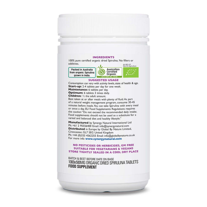 Synergy Natural Organic Spirulina 1000 Tablets