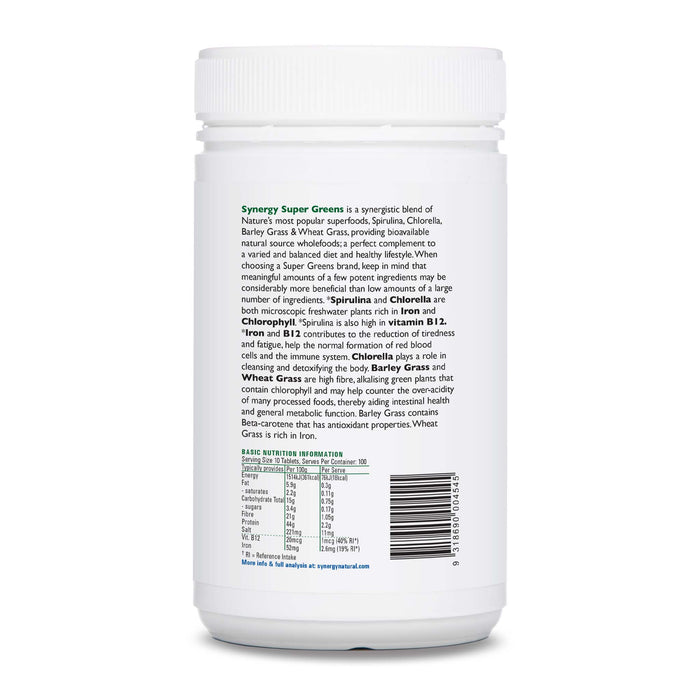 Synergy Natural Organic Super Greens 1000 Tablets