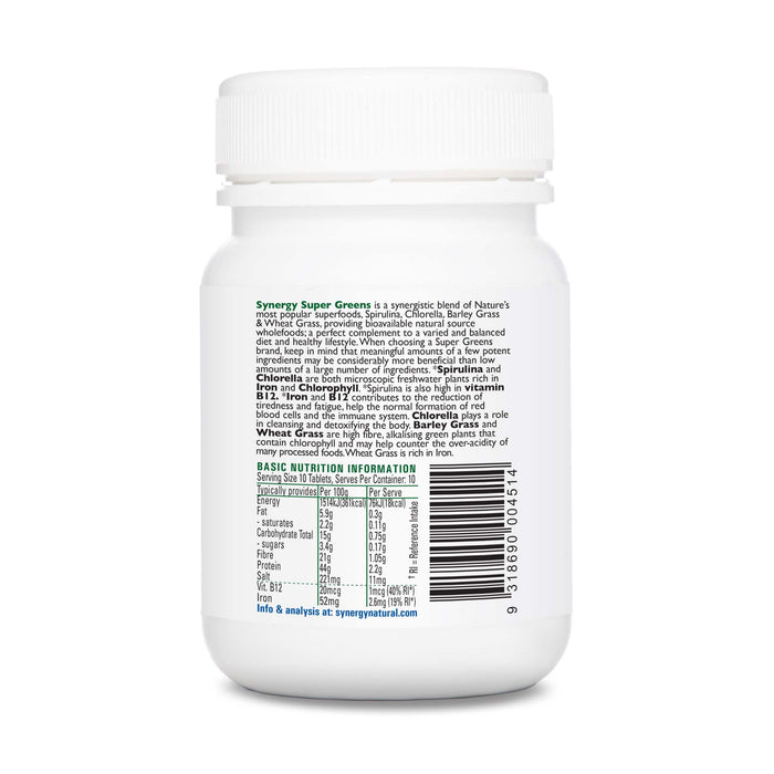 Synergy Natural Organic Super Greens 100 Tablets