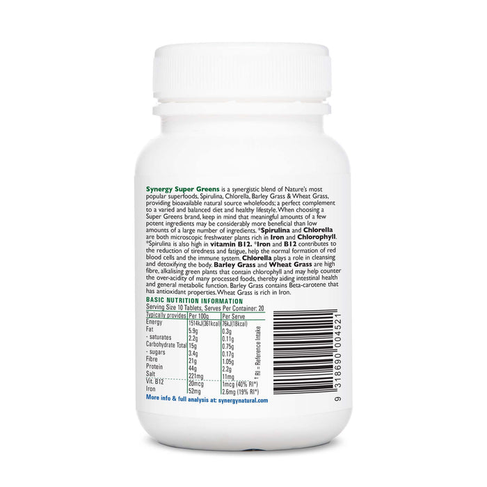 Synergy Natural Organic Super Greens 200 Tablets