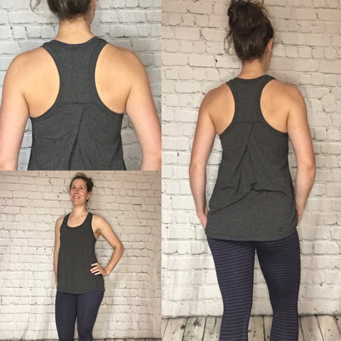 Lille Pleated Racer Back Tank - Heathered Charcoal Bamboo