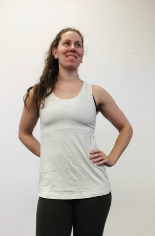 Lille Pleated Racer Back Tank - Heathered Ecru Bamboo