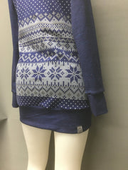Curvy Tunic Length Holiday Christmas XMas Sweater with Cross-over Cowl