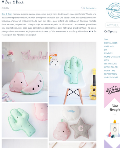 Boo & Bear feature Moody's blog - Kids decor, nursery cushions, girls room, boys room