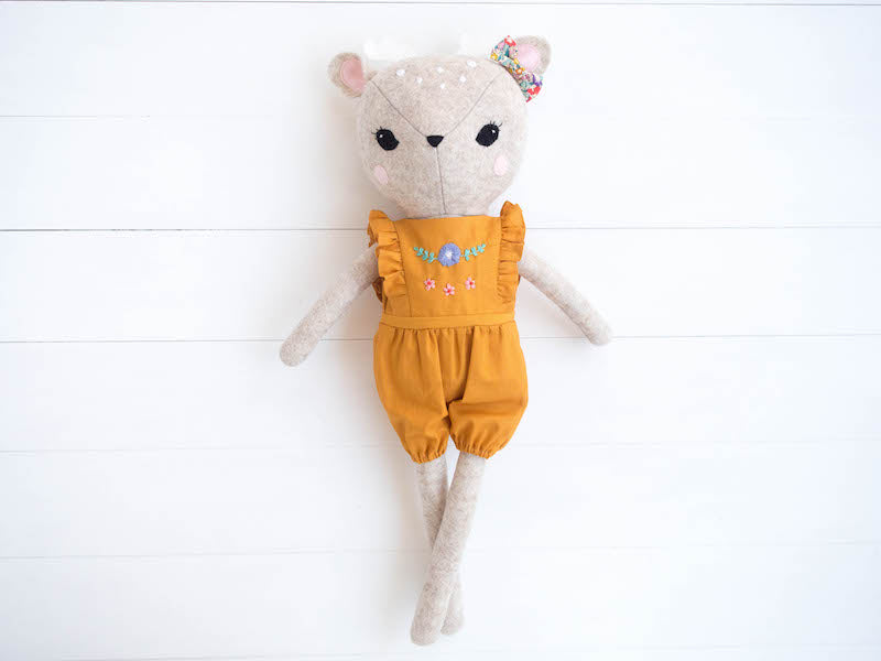 Rosie the Deer doll - Mustard jump suit - Boo & Bear kids room decor