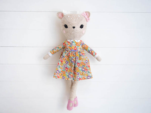 Rosie the Deer doll - Mustard floral dress - Boo & Bear kids room decor