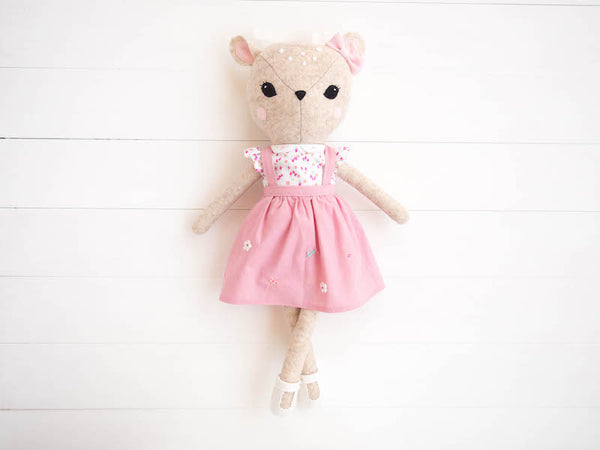 Rosie the Deer doll - Pink pinafore - Boo & Bear kids room decor