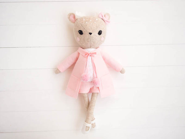 Rosie the Deer doll - Pink pom pom coat