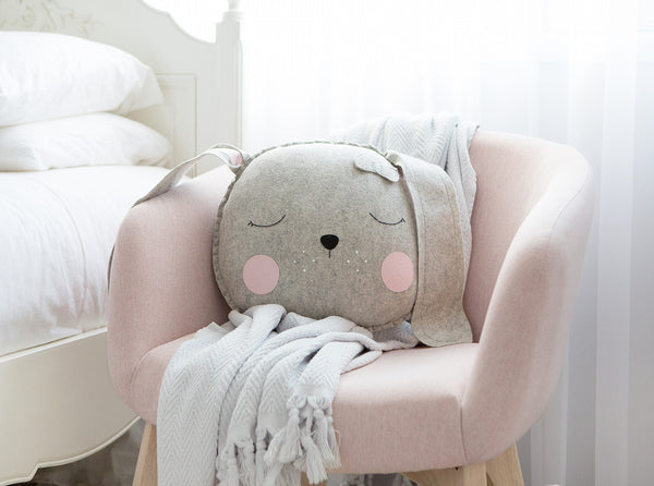 Lulu Bunny cushion - Grey - Boo & Bear kids room decor