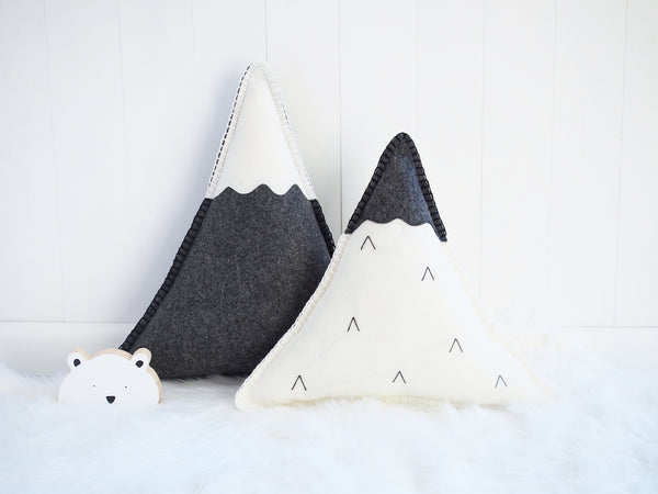 Snowy mountains cushion - Boo & Bear kids room decor