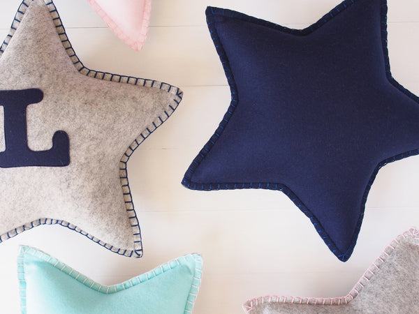 Two-tone initial star cushion - Boo & Bear kids room decor
