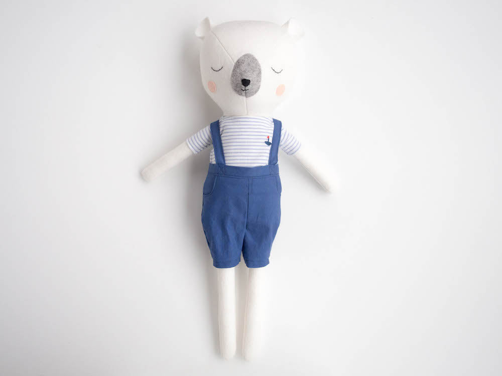 Mr Sleepy Bear Doll - Nautical Navy - Boo & Bear kids room decor