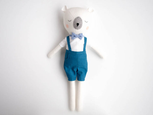 Mr Sleepy Bear Doll - Teal with bowtie - Boo & Bear kids room decor