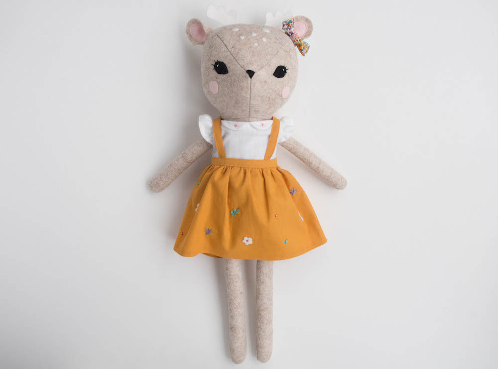 Rosie the Deer doll - Mustard pinafore - Boo & Bear kids room decor