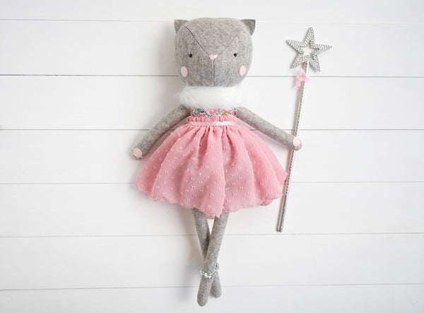 Cleo the Cat Doll - Liberty floral top and pink skirt - Boo & Bear kids room decor