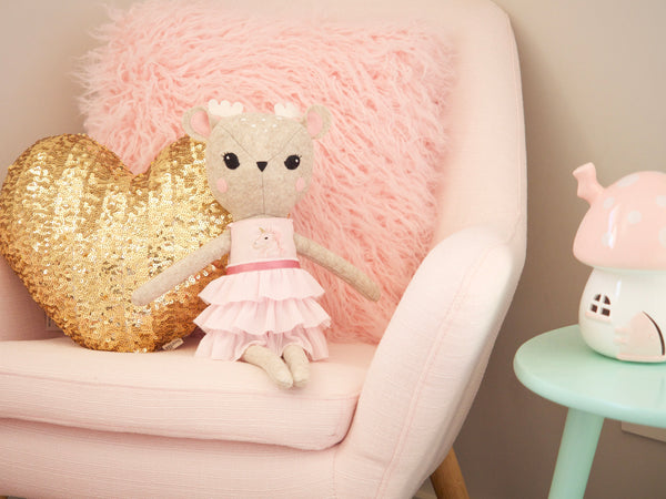 Rosie the Deer doll - Pink Unicorn top & frill skirt - Boo & Bear kids room decor