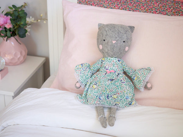 Cleo the Cat doll - Green bell sleeve dress - Boo & Bear kids room decor