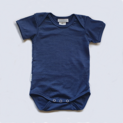 Merino Blueberry short sleeved bodysuit. flat lay.
