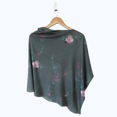 Floral Merino Nursing cover, breastfeeding cover, Nursing poncho. Merino nursing poncho, NZ Made