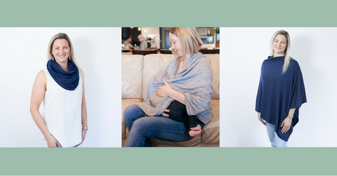 Merino nursing scarves, ponchos. Designed for breastfeeding. The stylish on trend version of nursing covers and breastfeeding wraps