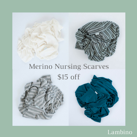 Mother's Day offer Lambino Merino- Infinity Nursing Scarves, perfect for breastfeeding. Made in New Zealand 100% Merino