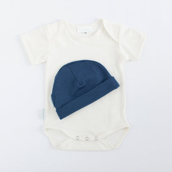 Merino bodysuit and beanie made in New Zealand, perfect gift for a baby boy