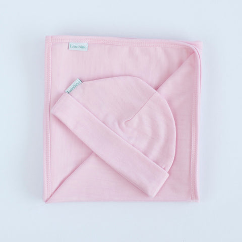 Our pink Merino wrap and beanie for a baby girl, made in New Zealand, perfect gift for a newborn baby or baby shower, 100% Merino Wool, Wanaka.