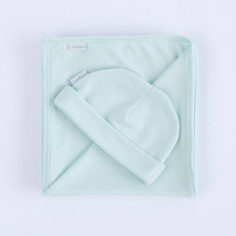 Our mint Merino wrap and beanie for a neutral baby gift, made in New Zealand, perfect gift for a newborn baby or baby shower.