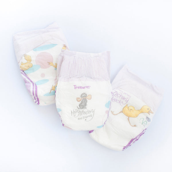 Treasures Newborn nappies, Lambino nappy cake contents.