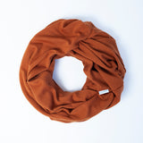Spice Merino nursing scarf, designed for breastfeeding by Lambino. Made in New Zealand.