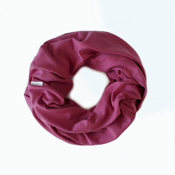 Vintage Cerise Merino nursing scarf.  Designed for breastfeeding. Natural fibre breastfeeding cover, made in New Zealand