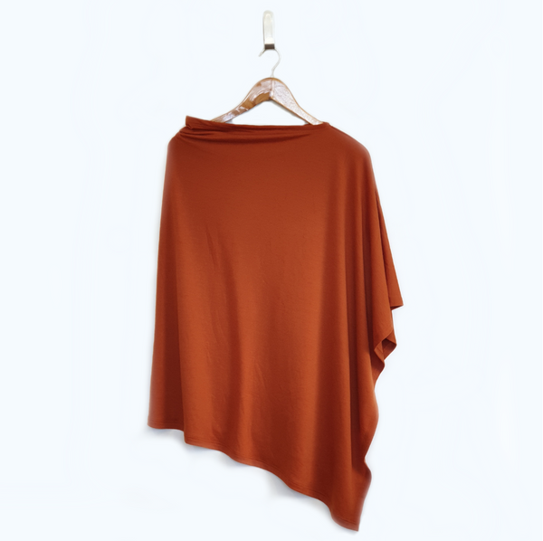 Petite Spice Merino Nursing Poncho, designed for breastfeeding. Lambino Made In NZ