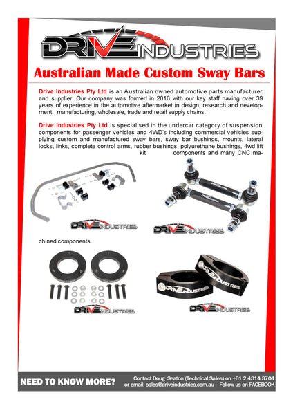 DBF93-27A Heavy Duty Sway Bar 27mm - Adjustable