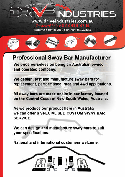 Custom Sway bar - Made to Order - PRICE ON APPLICATION