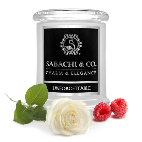 Sabachi & Co Unforgettable, White Rose, Raspberry, Strawberry Handmade Soy Candle