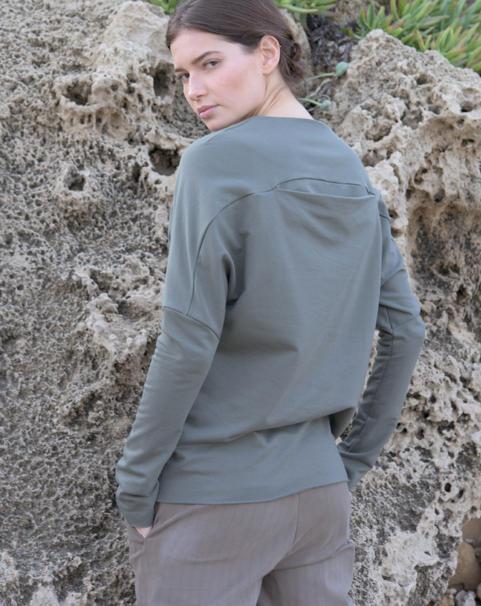 Backfold Sweatshirt | Greige