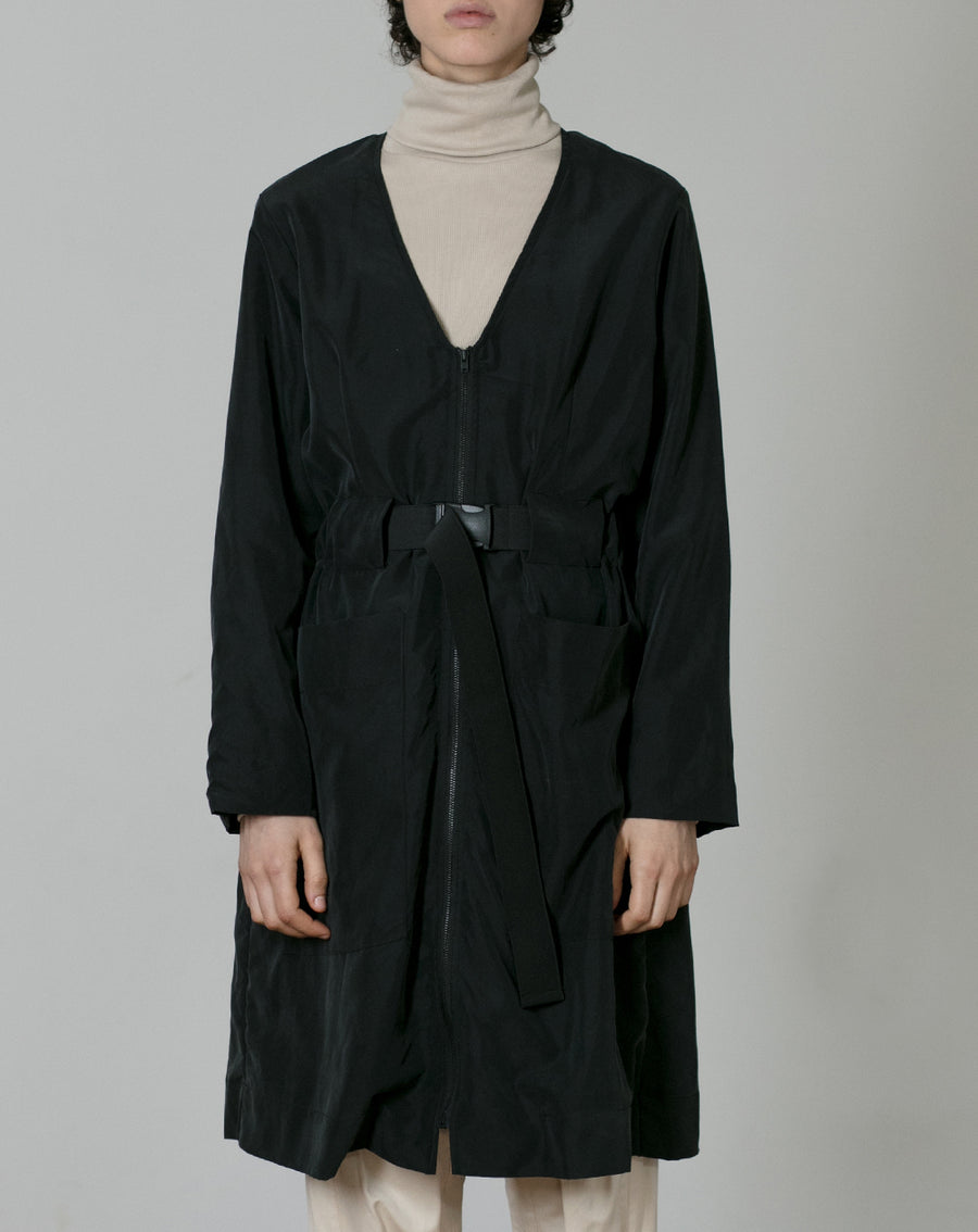 Cupro Coat | Black